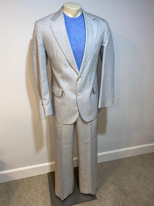 Vtg 80s Gray HAGGAR Miami Vice 2 PIECE SUIT Mens 40 Jacket Coat 36 31 pants