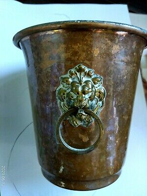 Copper Pot With Lions Heads Brass  Handles