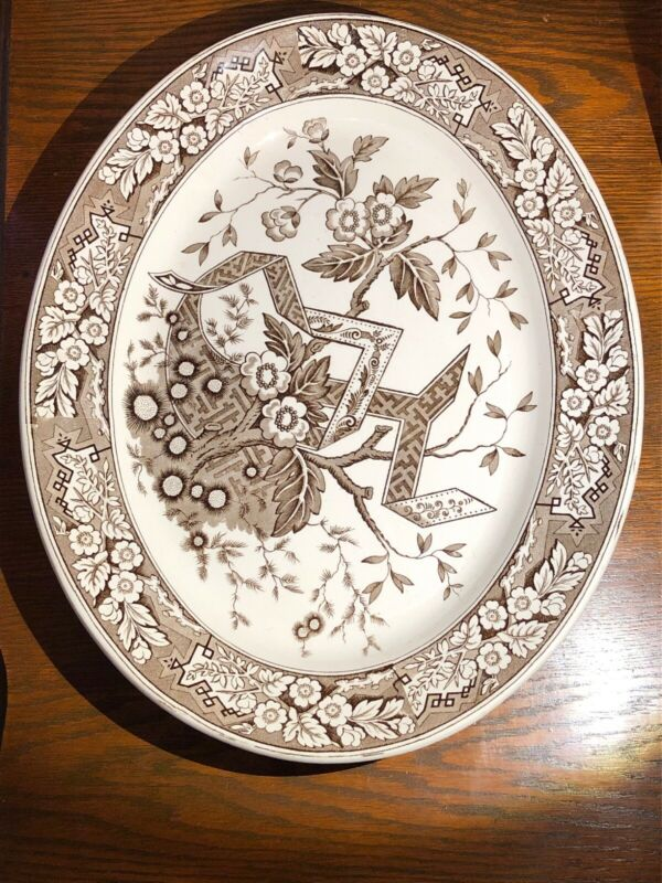 "Antique Wedgwood Beatrice Brown Aesthetic Transferware 15"" Platter  Circa 1880"