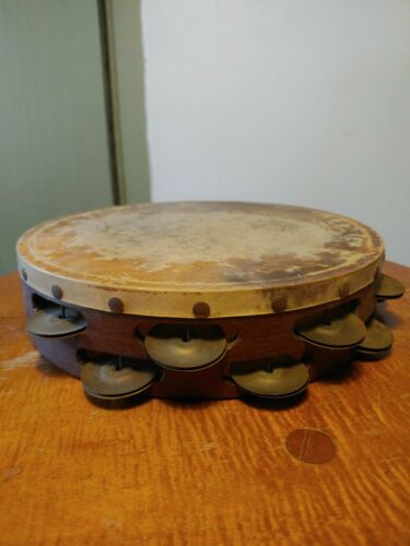 """ANTIQUE VINTAGE 10"""" WOOD LUDWIG TAMBOURINE 34 BRASS Jingles Two Rows CALF SKIN?"""