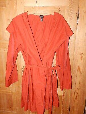 Eileen Fisher Light Trench Wrap Jacket Anorak Hood Unlined Burnt Orange Sz Large