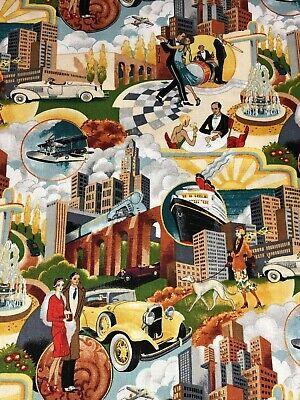 GATSBY SCENIC 1165 ROARING 20's Cars Planes Fashion w/ Gold Makower Fabric - Roaring 20s Fashion