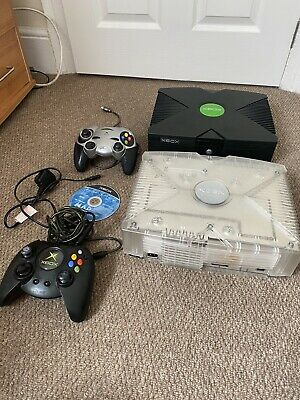 2x Microsoft Xbox Original Black / Clear Games Console (JOB LOT BUNDLE)