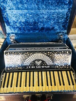RARE HTF Vintage Pre-War Atlas Accordion Original Case Rhinestone Inlay EUC