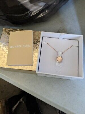 Michael Kors Women's Brilliance Rose Gold MK Necklace Crystals M3 Elegant Classy