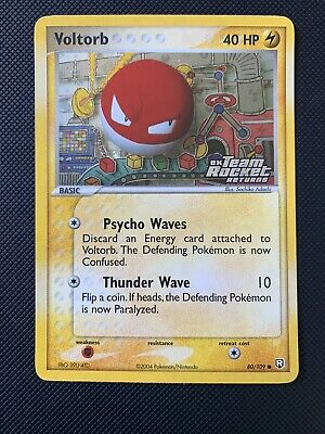 NM Voltorb 80/109 Reverse HOLO Pokemon Card EX Team Rocket Returns 2004