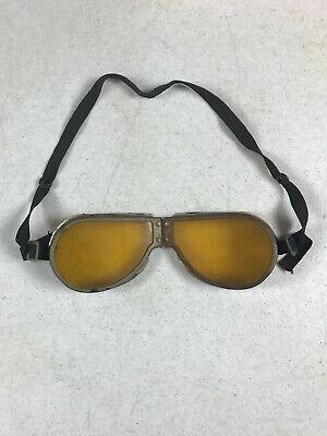 vintage Pilots Pereles Bros Steampunk Tin Safety Goggles Yellow Tinted w/ Strap