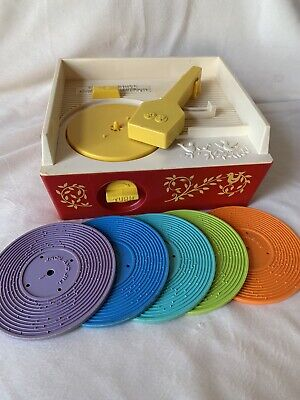 Vintage 1971 Fisher Price Music Box Record Player with 5 Records Working Used