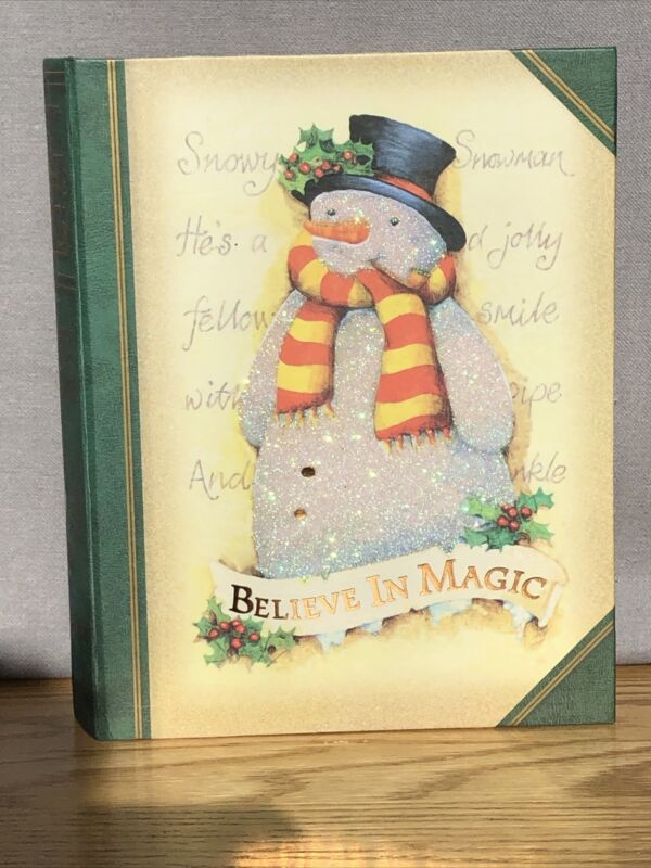 """""""believe in magic"""" Glittered snowman christmas cards - Gibson - Reusable Box!"""