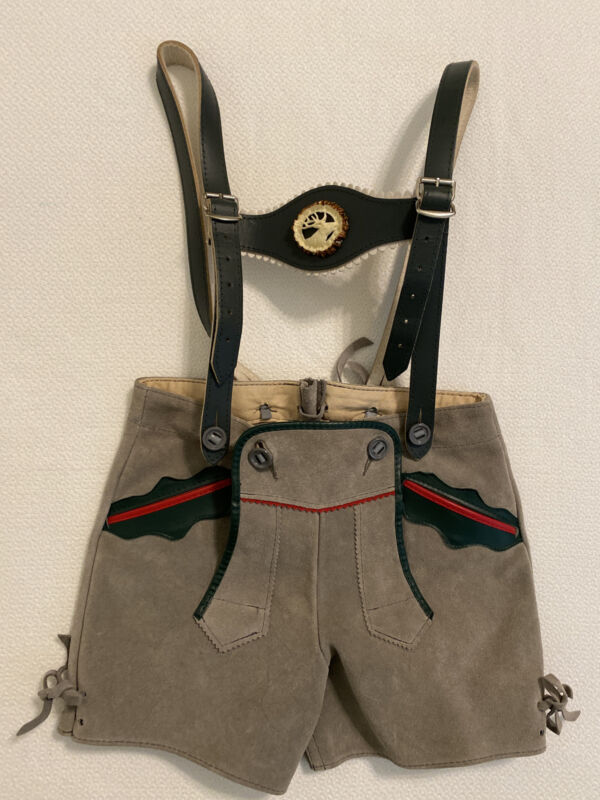 Authentic Kids LEDERHOSEN shorts Suspenders Boys Gray Suede Leather 4- 5T