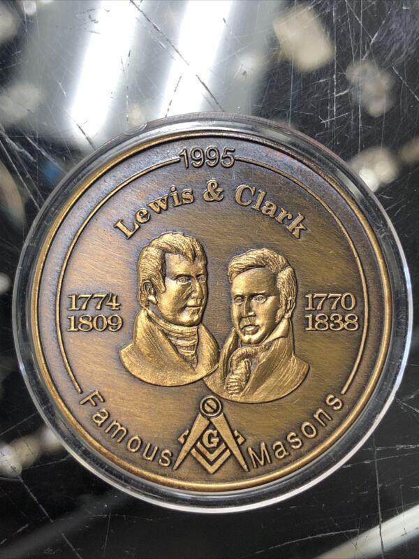 Mason Token: Lewis & Clark, Famous Masons Bronze Medal