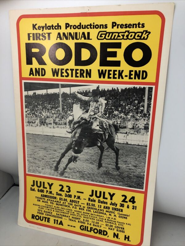 Rare Vintage Gilford NH Rodeo Western Weekend Poster Great Cowboy Image
