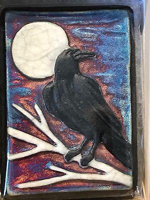 Raven Raku Wall Art small (new design), handmade/handsigned- NEW