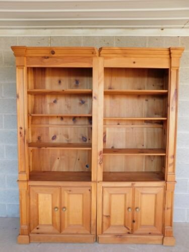 Custom Knotty Pine Open Bookcases - a Pair