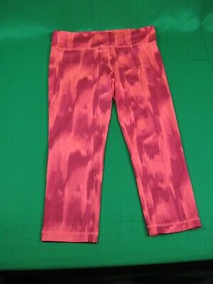 Womens Under Armour Capri Pants Small Heat Gear Pink Orange Work Out Athletic