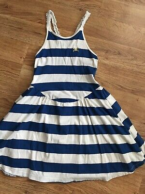 No Added Sugar Girls Blue White Striped Dress 5-6 years