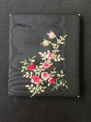 Lovely Late Victorian Early Edwardian Ribbon Work Wallet Or Mirror Sleeve