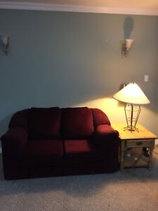 Free delivery: red suede love seat in fantastic condition