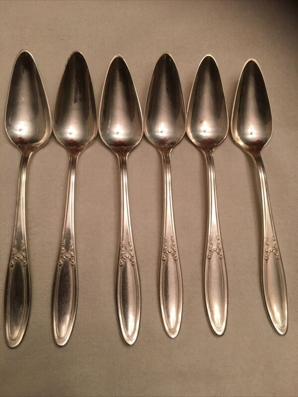 6 Associated Silver Co 1915 PANAMA Silverplate Grapefruit Spoons Yourex2516