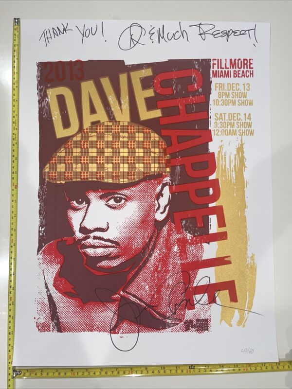 Dave Chappelle COA Autographed Event Poster 49 Of 60 Only Two Were Signed