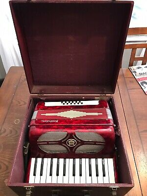 Vintage Morbidoni Made In Italy Red Piano Accordion Antique Instrument