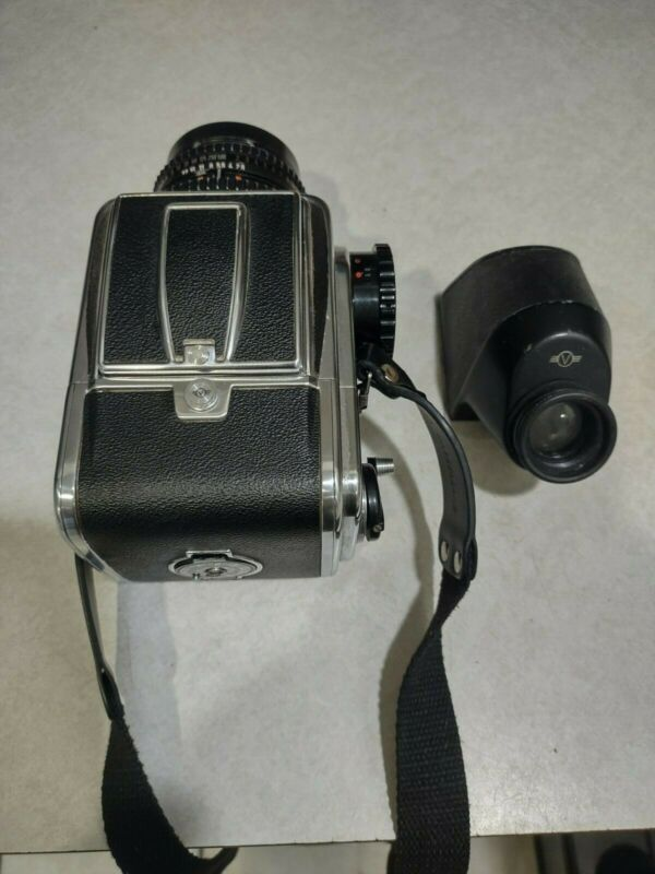 hasselblad 500c with lens, strap and prism viewfinder