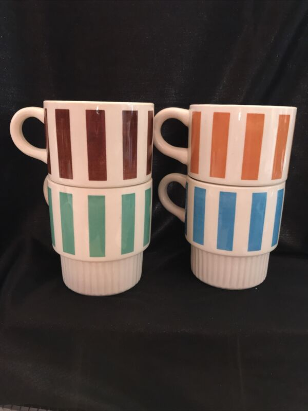 4 MID CENTURY Vintage McCoy USA Coffee Mugs Cups Stacking Striped USA restaurant