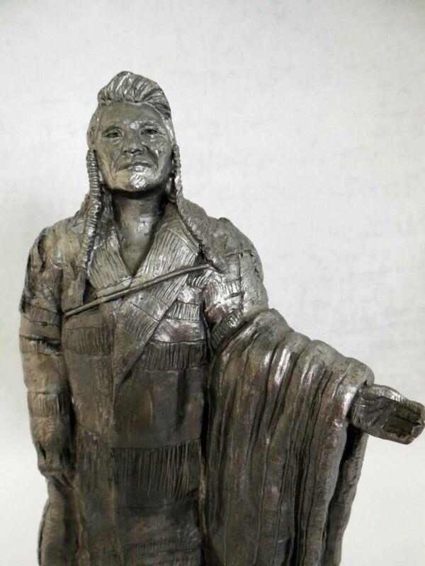 "Vintage Signed Michael Ricker 1998 Pewter Sculpture of Chief Joseph 10"" Tall EUC"