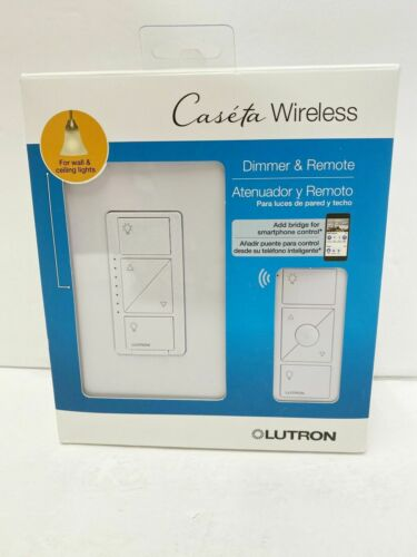 NEW Lutron Caseta Wireless In Wall Dimmer & Remote P-PKG1W-WH-R