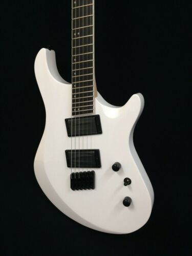 Haze-6FF WHT Fanned-Fret,6-String Electric Guitar,White+Free Bag,Extra Strings