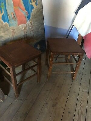 Pair Of French Oak Leather Top Stools