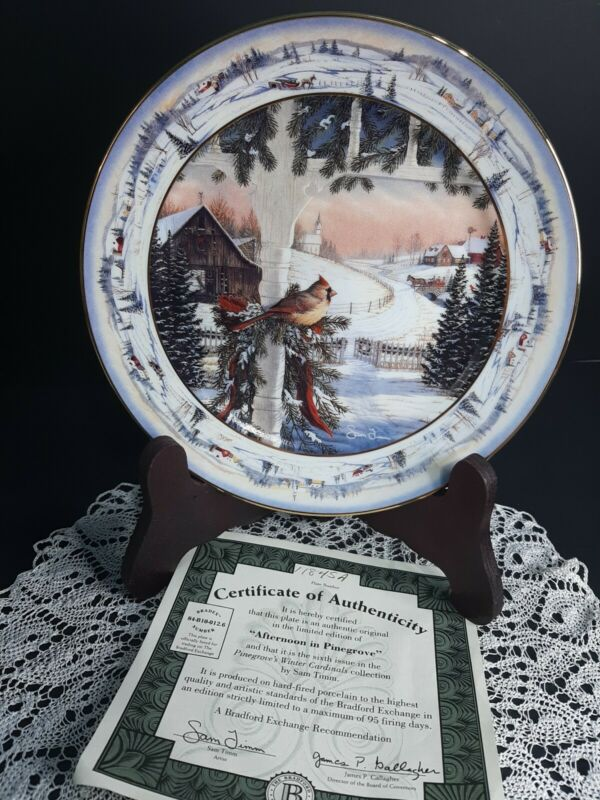 1993 Collector Plate Afternoon In Pine Grove By Sam Timm Cardinals Birds Winter