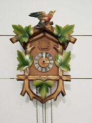 HAND CARVED GERMAN CUCKOO CLOCK WITH Bird & LEAVES