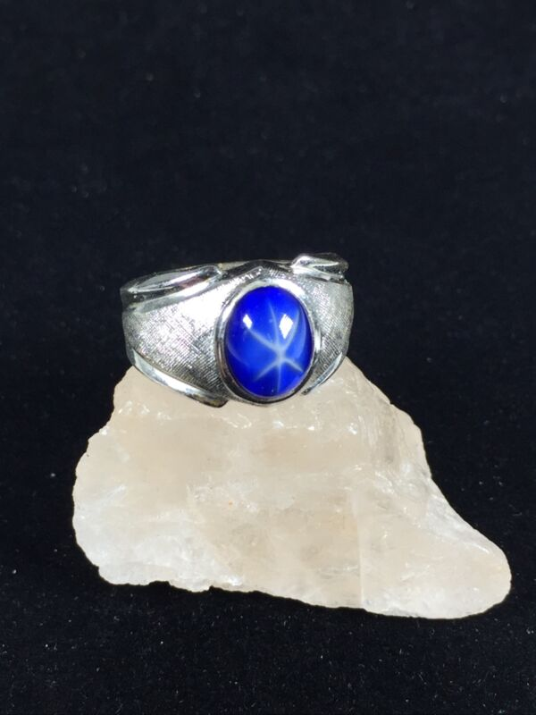Vintage Park Silver Ring Blue Stone Scarab Chakra Textured Band Cocktail Sz 7.5