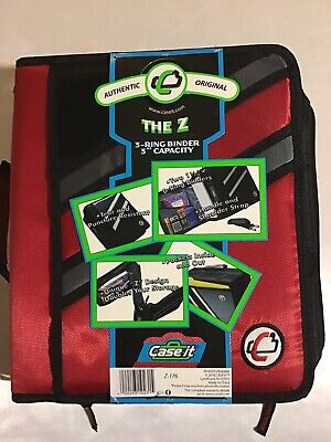New Case-it Z-binder Two-in-one 1.5-inch D-ring Zipper Binder Red Black