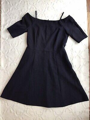 H & M Women's Size 12 Navy Blue Off the Shoulder Dress NWT