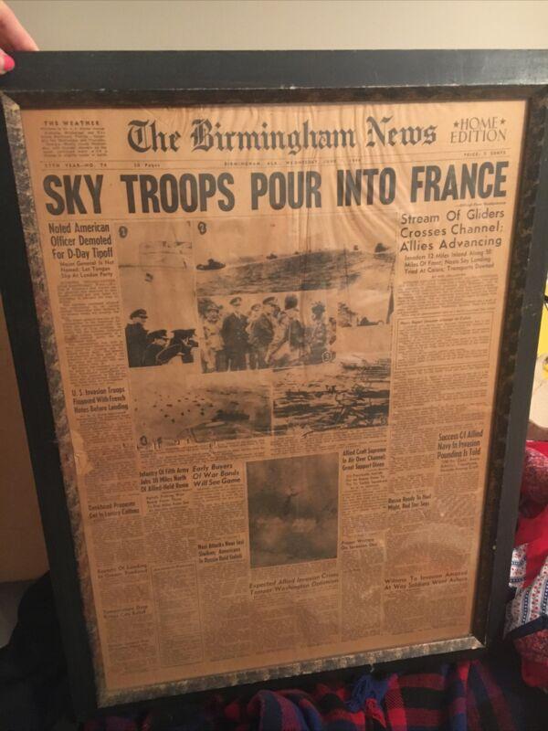 Vintage birmingham alabama Newspaper Article 1944 WW2 World war 2 In frame