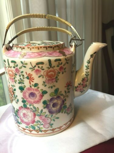 Antique Hand Painted Samson Paris French Famille Rose Porcelain Tea pot