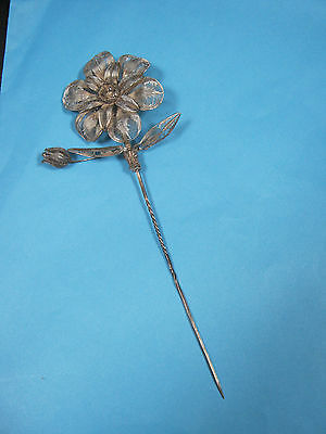 GENUINE ANTIQUE HATPIN - LARGE SILVER METAL NODDER FILIGREE FLOWER.