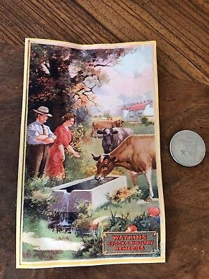 ANTIQUE WATKINS STOCK & POULTRY REMEDIES Advertising Trade PRINT CARD Cows Farm