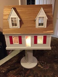 Big Doll House Handmade on Swivelling Stand with Light