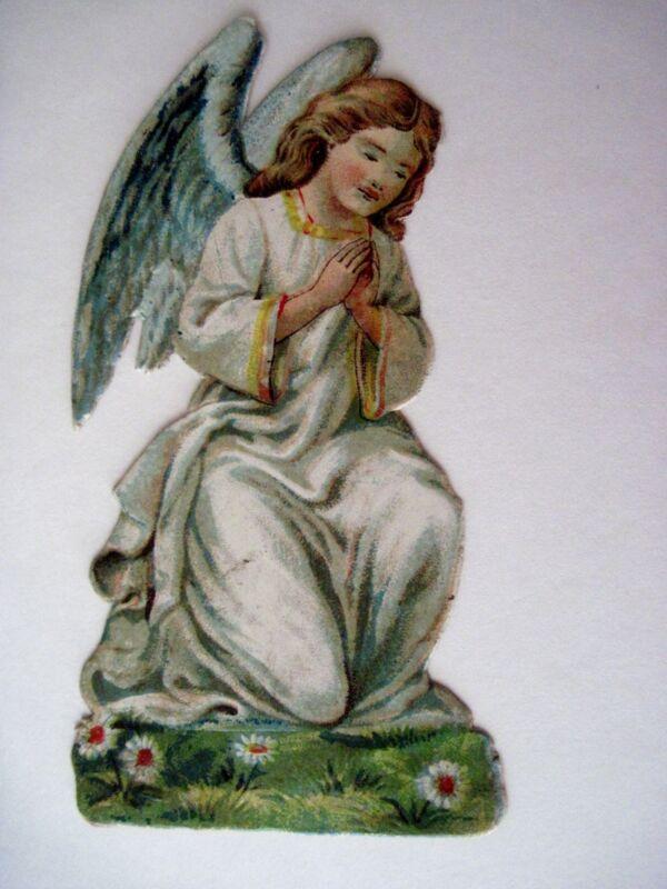 Vintage Die Cut of Sweet Angel Kneeling While Praying w/ Blue Wings (N)*