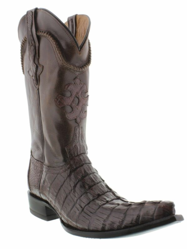 Mens, Brown, Genuine, Crocodile, Skin, Western, Leather, Cowboy, Boots, Tail, Cut, Pointed