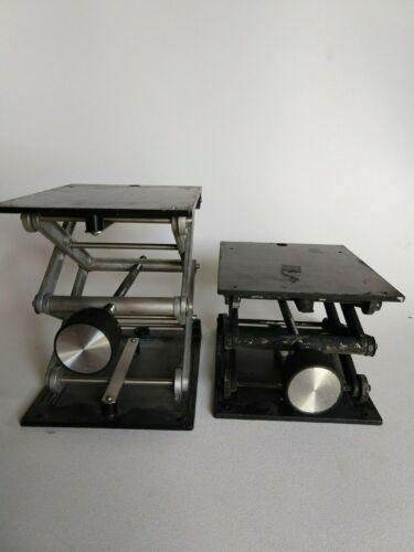 "Lot of two (2) Fisher Scientific Lab Jacks Heavy Duty 100 lbs capacity 12"" tall"