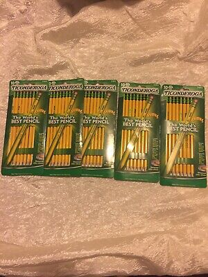 (5) Packs Of Ticonderoga Number 2 Soft Pencils 10 Yellow 33892