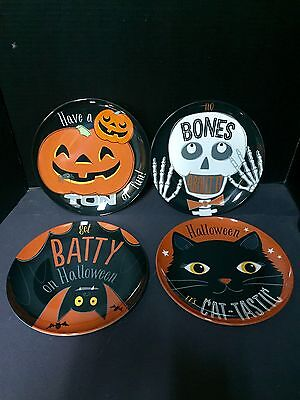 Pottery Barn Kids HALLOWEEN Set 4 PLATE Table Party Cat BAT Skeleton Pumpkin NEW](Halloween Table Setting Party)