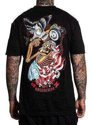- Sullen Men's Free Bird Short Sleeve T-shirt American Flag Skull Eagle Tattoo Tee