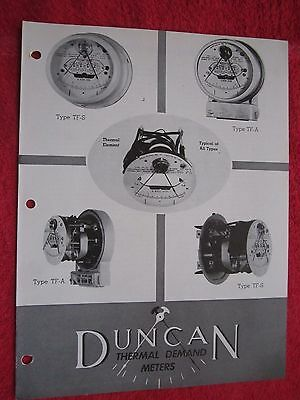 1949 Duncan Thermal Demand Watthour Meter Brochure