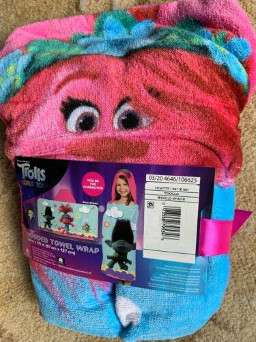 "NWT Dreamworks TROLLS World Tour Hooded Towel Wrap 24"" X 50"""