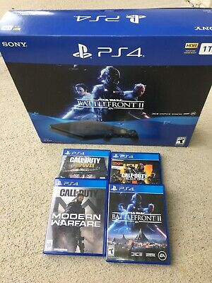 Sony PlayStation 4 Slim STAR WARS: Battlefront II Bundle, 1TB, Black Console, ++